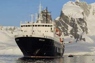 Ice-Strengthened Expedition Ship in Spitsbergen