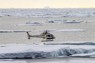 Helicopter flight above the Ross Sea pack ice