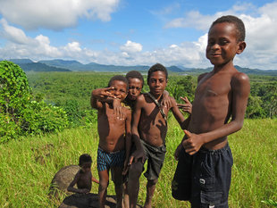 Trekking through villages in Papua New Guinea, Sepik Province