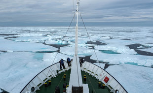Expedition Ship in Pack Ice - Bjoern Koth