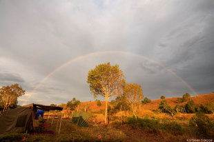 Rainbow over our mobile safari camp in Madagascar - photography by Kathleen Varcoe