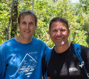 Trip leader Ralph Pannell with Steve Backshall - Chance Amazon Encounter with the BBC TV Presenter